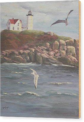 Nubble Lighthouse Wood Print by Bev Finger