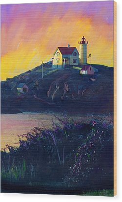 Nubble Lighthouse Wood Print by Cindy McIntyre