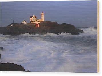 Nubble Lighthouse Holiday Lights And High Surf Wood Print by John Burk