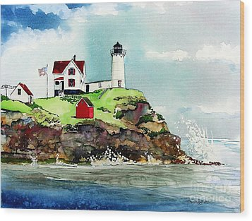 Nubble Lighthouse Wood Print by Tom Riggs