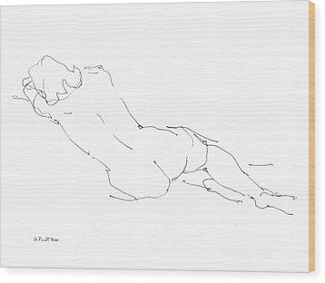 Nude Female Drawings 9 Wood Print by Gordon Punt