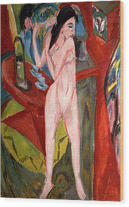 Nude Woman Combing Her Hair Wood Print by Ernst Ludwig Kirchner