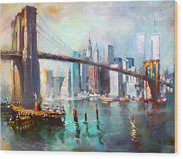 Ny City Brooklyn Bridge II Wood Print by Ylli Haruni