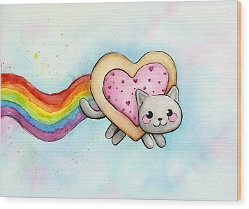 Nyan Cat Valentine Heart Wood Print by Olga Shvartsur