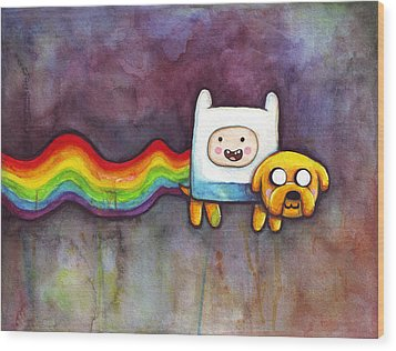 Nyan Time Wood Print by Olga Shvartsur