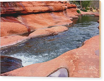 Oak Creek At Slide Rock Wood Print by Carol Groenen
