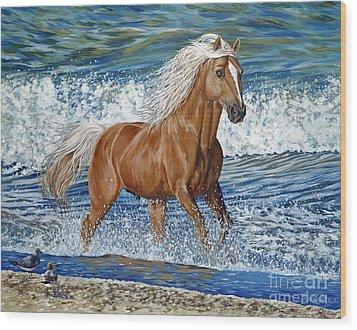 Ocean Stallion Wood Print by Danielle  Perry