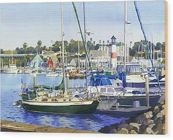 Oceanside Harbor Wood Print by Mary Helmreich