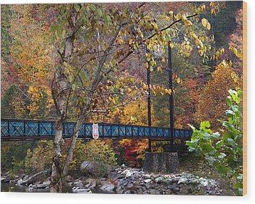 Ocoee River Bridge Wood Print by Debra and Dave Vanderlaan