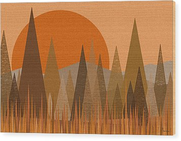 October Sunset Wood Print by Val Arie