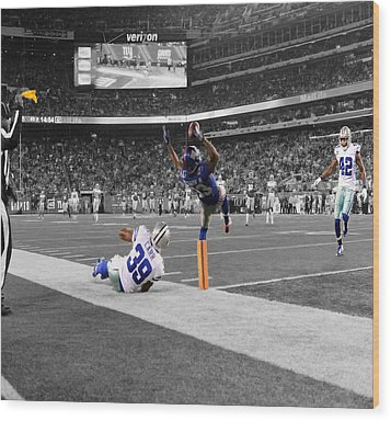 Odell Beckham Breaking The Internet Wood Print by Brian Reaves