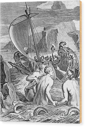 Odysseus Escapes Charms Of The Sirens Wood Print by Photo Researchers