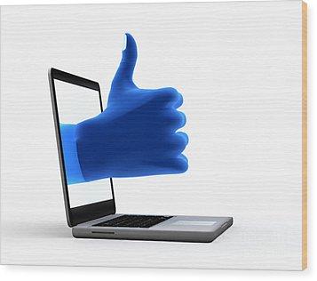 Okay Gesture Blue Hand From Screen Wood Print by Michal Bednarek