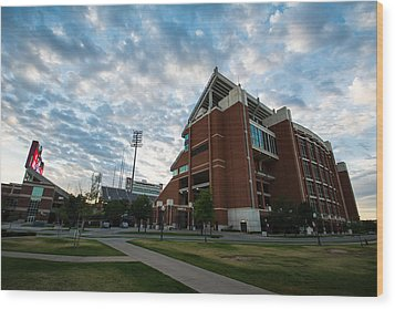 Oklahoma Memorial Stadium Wood Print by Nathan Hillis