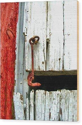 Old Barn Door Hook Wood Print by Julie Dant