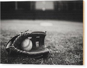 Old Baseball And Glove On Field Wood Print by Danny Hooks