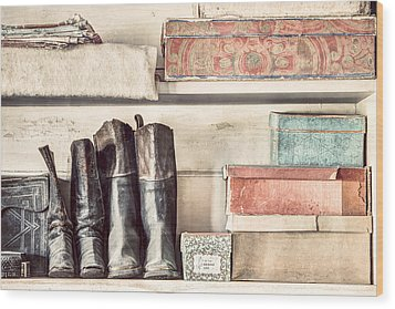 Old Boots And Boxes - On The Shelves Of A 19th Century General Store Wood Print by Gary Heller