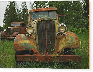 Old Cars Left To Decorate The Weeds Wood Print by Jeff Swan