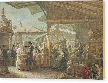 Old Covent Garden Market Wood Print by George the Elder Scharf