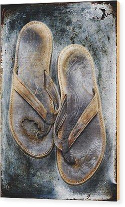 Old Flip Flops Wood Print by Skip Nall