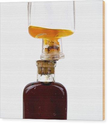 Old Glass Bottles With Corks Wood Print by Bernard Jaubert