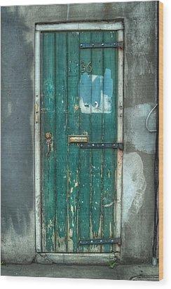 Old Green Door In Quarter Wood Print by Brenda Bryant