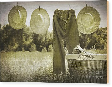 Old Grunge Photo Of Jeans And Straw Hats  Wood Print by Sandra Cunningham