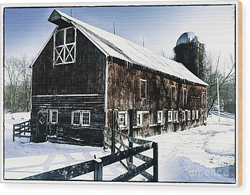 Old Jersey Farm In Winter Wood Print by George Oze