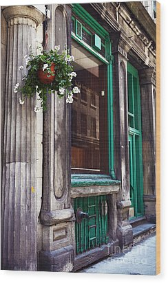 Old Montreal Architecture Wood Print by John Rizzuto