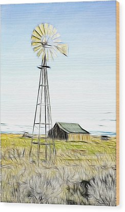 Old Ranch Windmill Wood Print by Steve McKinzie