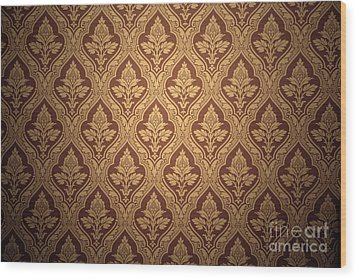 Old Retro Wallpaper In Sepia Wood Print by Michal Bednarek