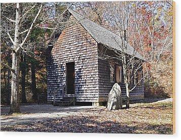 Old Schoolhouse Building Wood Print by Susan Leggett