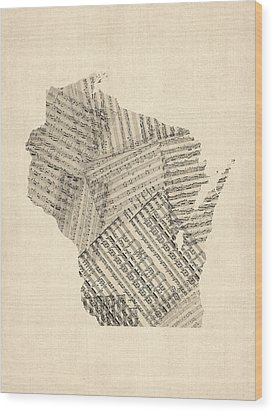 Old Sheet Music Map Of Wisconsin Wood Print by Michael Tompsett