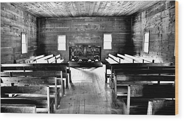 Old Time Religion -- Cades Cove Primitive Baptist Church Wood Print by Stephen Stookey