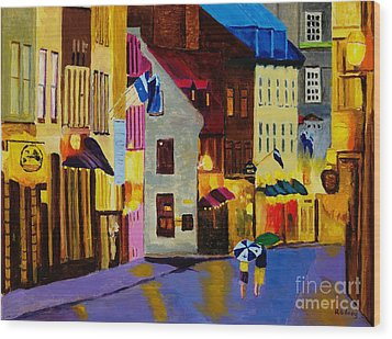 Wood Print featuring the painting Old Towne Quebec by Rodney Campbell