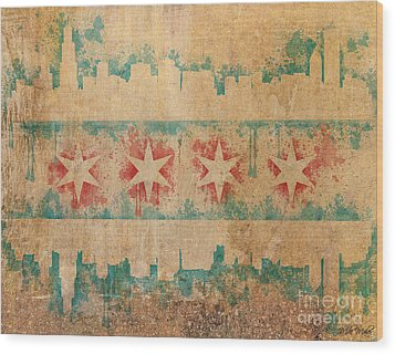 Old World Chicago Flag Wood Print by Mike Maher