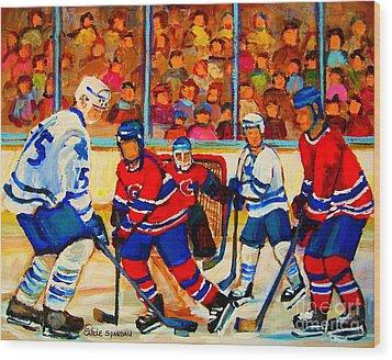 Olympic  Hockey Hopefuls  Painting By Montreal Hockey Artist Carole Spandau Wood Print by Carole Spandau