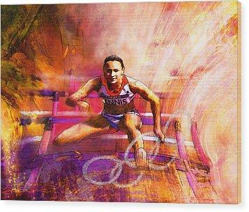Olympics Heptathlon Hurdles 02 Wood Print by Miki De Goodaboom
