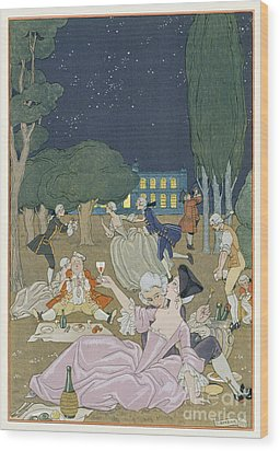 On The Lawn Wood Print by Georges Barbier