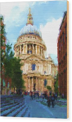 On The Steps Of Saint Pauls Wood Print by Jenny Armitage