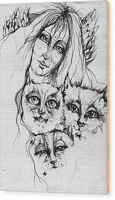 One Angel Three Cats Wood Print by Angel  Tarantella