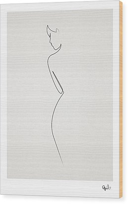 One Line Nude Wood Print by Quibe