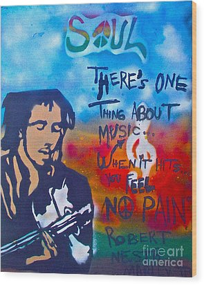 One Thing About Music Wood Print by Tony B Conscious