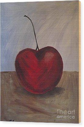 One Very Cherry Wood Print by Becca J