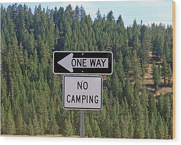 One Way Wood Print by Larry Stolle
