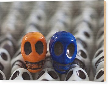 Orange And Navy Blue Wood Print by Mike Herdering