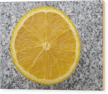Orange Cut In Half Grey Background Wood Print by Matthias Hauser