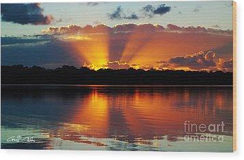 Orange Gods - Sunrise Panorama Wood Print by Geoff Childs