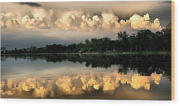 Orange Sunset Reflection Wood Print by Daliana Pacuraru
