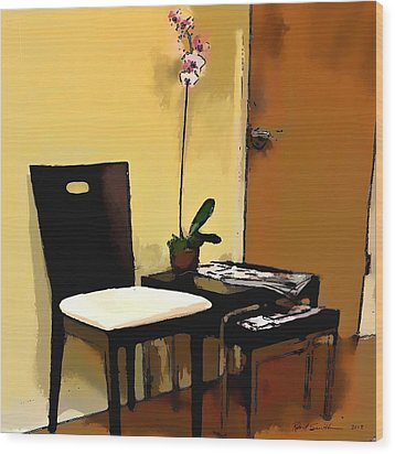 Orchid By A Chair Wood Print by Robert Smith